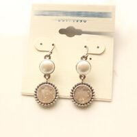 New Faux Pearl Drusy Drop Dangle Earrings Best Gift Vintage Women Party Jewelry