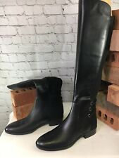 Vince Camuto Wide Calf Black Leather Tall Shaft Boots Pauletta Women Size 6.5W