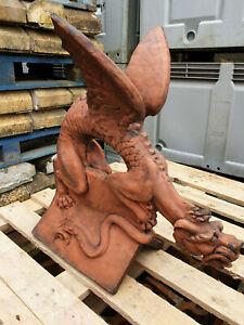 Large Dragon Angled Roof Ridge Tile Finials Stone Garden Ornament