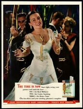 1945 CHESTERFIELD Cigarettes - Pretty Woman - NEW YEARS EVE Party VINTAGE AD
