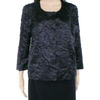 Alfani Women's Jacket Floral-Applique Snap-Buttons Black Size Large L