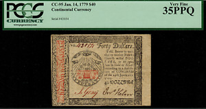 CC-95 Continental Currency - January 14, 1779 $40 - Graded PCGS 35PPQ