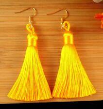 Dark Yellow Bohemian Polyester Tassel Dangle Earrings with Golden Hooks - #684