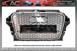 RS3 STYLE (GLOSS BLACK) FRONT GRILL (2012-2015) - FIT AUDI A3 & S3