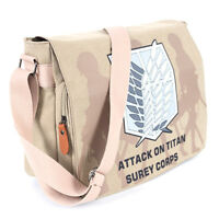 Attack On Titan Survey Corps Canvas Shoulder Messenger Bag Flap School Backpack