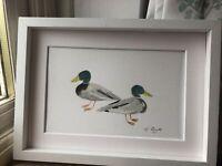 Two Mallard Ducks, Watercolour Signed Original Art, Vintage, Cottage, Gift