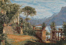"""44"""" WALL WOVEN TAPESTRY Lodge at Lake Como - Aagaard Art MEDITERRANEAN LANDSCAPE"""