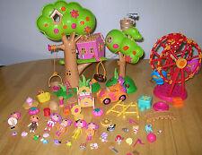 Lalaloopsy 7 Mini Dolls + 50 Accessories + Treehouse + Ferris Wheel Huge Lot