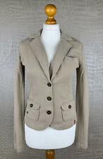 EDC ESPRIT Damen Gr XS Sweatjacke Stretch Blazer Jacket hell Beige Baumwolle 402