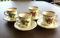 Mikasa Garden Club Basket of Wildflowers Set of 4 Tea, Coffee Cups & Saucers