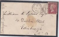 GB10002) GB 1d Red Plate 72 on cover 1865, Guildford to Edinburgh