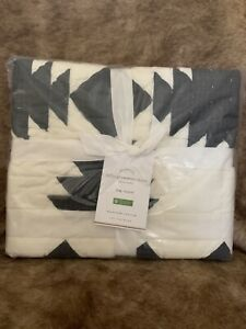 Pottery Barn Tallie Geo Geometric One (1) King Quilted Sham Ivory Charcoal Black