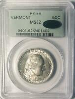 1927 Vermont Commemorative Silver Half Dollar- PCGS MS 62- Mint State 62 CAC