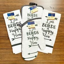 Kitchen Linens Love Builds a Happy Home Gray White Oven Mitt Towels Pot Holders