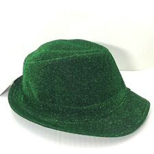 Happy St. Patricks Day Hat Fedora Green Sparkly Adult One Size Fits Most