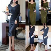 Fashion Women Winter Knitted Sweater Bodycon V Neck Long Pencil Party Dress Lot