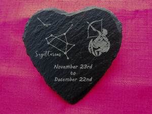 Personalised Engraved Sagittarius Zodiac Heart Slate Coaster Star Sign Astrology