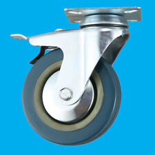 4x 50mm Blue/Grey Rubber Heavy Duty Swivel Wheel Castors 50kg Load With Brake