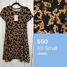 Lularoe XXS 2XS Jessie Dress POCKETS Black Gold Floral NEW NWT