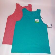 Set of 2 Fruit of the Loom Mens Tank Top Small Blue Red Sleeveless Solid