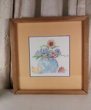 Vtg Framed print or original watercolor SUNFLOWER hydrangea pears vase Yellow