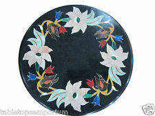 "12"" Black Marble Rare Marquetry Table Coffee Top Hallway Furniture Mosaic Decor"