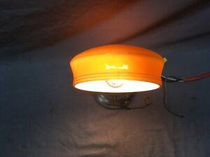 Vtg Over Mirror Chrome Sconce Amber Glass Shade Art Deco Light Fixture 402-20E