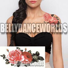 PINK ROSE FLORAL SHOULDER NECK ARM LEG TEMPORARY TATTOO WOMAN STICKER SCAR COVER