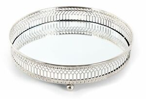 Decorative Mirrored Tray | Tealight Candle Holder Plate |Vanity Perfume Tray