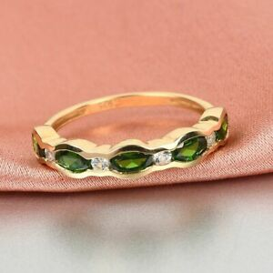 TJC Chrome Diopside, White Zircon Half Eternity Ring Gold Plated Silver 1.47ct