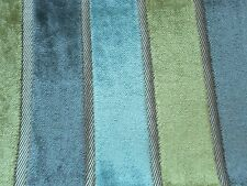 Harlequin Curtain Fabric PLUSH 0.7m Moss/Pewter/Duck Egg Stripe VELVET 70cm