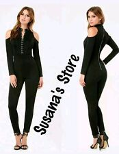 NWT BEBE BLACK HOOK & EYE MOCK NECK CATSUIT JUMPSUIT SIZE S NEW NWT MSRP$200