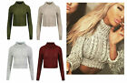 Femme Haut Col Polo Torsade Grosse Maille Pull Tricot Jabot Sweatshirt Top