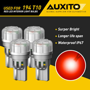 4X AUXITO Super Red 194 T10 2825 192 LED Bulbs Interior License Light 3020SMD