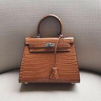 Womens REAL Leather Croc Skin Print Shoulder Bag Satchel