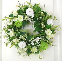 Türkranz Frühling Bellis Tischkranz Wand Kranz Blumen Sommer creme weiß Hochzeit