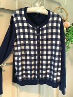 XL Blue Preppy Gingham Check TOMMY HILFIGER Womens Cardigan Cotton Sweater