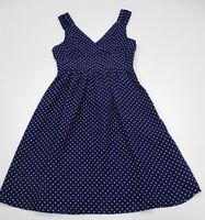 new GAP #DR1377 Women's Size 0 A-line Retro Polka Dot Royal Blue Cocktail Dress