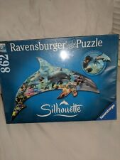 Nip Ravensburger Silhouette Dolphin 862 Piece Jig Saw Puzzle. Uniquely Shaped.