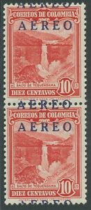 COLOMBIA 1953 provisional Airmail Issue 10 C U/M MAJOR VARIETY: DOUBLE OVERPRINT