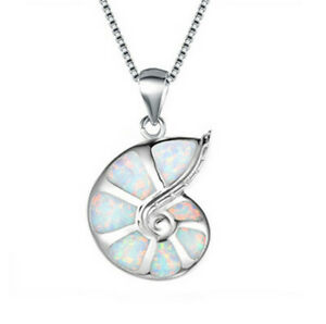 Fashion Silver Snails White simulated Opal Pendant Necklace Wedding Jewelry