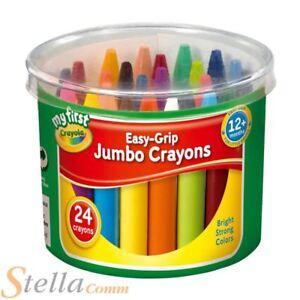 Tub Of 24 Crayola My First Jumbo Wax Crayons Kids Easy Grip Chunky Colouring