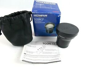 """Olympus TCON-17 Tele Converter Lens """"Near Mint"""" With Box Pouch Caps and Manual"""