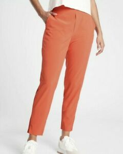ATHLETA Brooklyn Ankle Lightweight Travel Pant Orange OGHZ Women Size 10P  NWT