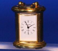 Vintage miniature brass clock, working order H:50mm *[19721]