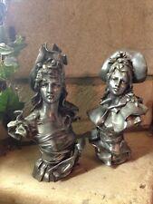 1900 Art Nouveau Paire Bustes jeune filles bust maiden Anton Nelson (1880-1910)