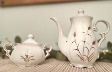 New listing Vintage L M Fine China Golden Wheat Handpainted Tea Pot & Sugar Bowl Set