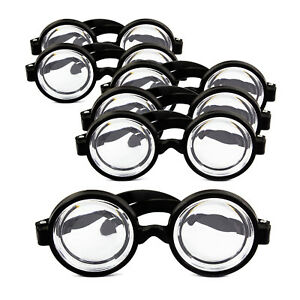 6x Idiotenbrille Streber Nerd Geek Brille Fasching Karneval Halloween Schwarz