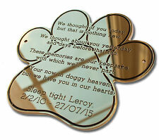 "4"" Paw Shape Solid Brass Plaque/Name plate pet memorial. Deep Engraving"