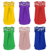 Fashion Women Summer Loose Top Sleeveless Chiffon Lace Shirt Plus Size Blouse